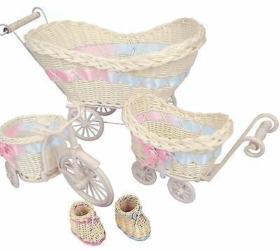 Mini Pram Baby Baskets and Favours! Hamper Shower Stroller Vintage Craft
