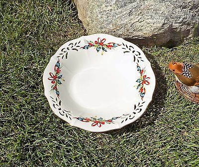 Lenox Winter Greetings Low Pierced Bowl Fine China - Holly, Ribbons MSRP $153.00