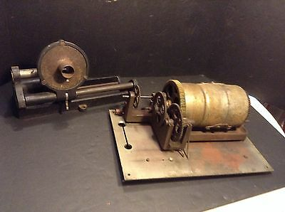 Antique Columbia BC Cylinder Phonograph Motor & Reproducer Project Parts