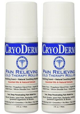 2 CryoDerm Soothing Pain Relief Roll On Oz (EXP Date 03/2019)
