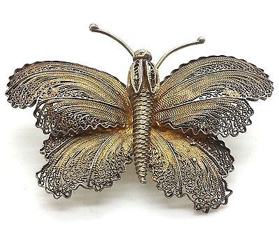 Antique Fine Filigree Butterfly Sterling Silver 925 Brooch Pin 9g C1242