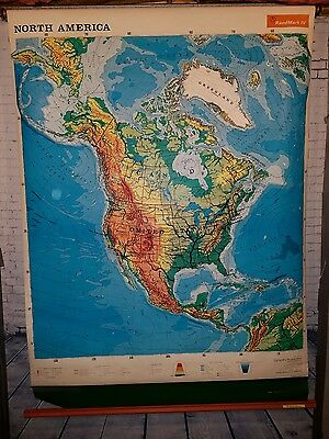 1971 Rand McNally School Pull Down Map 1R71 North America - United States NICE