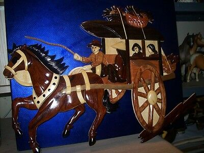 Wood relief sculpture wall hanging - horse and cart/wagon C. Davis