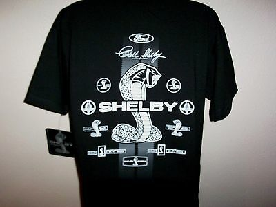 Ford Shelby Mustang Tshirt Black Shelby Cobra Emblems Gt350Gt500 24.99+2X,3X New