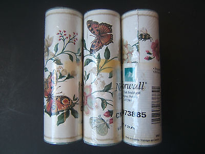 3 Rolls 5yds Wall Paper Border Butterflies Bumble Bees Flowers Light Background