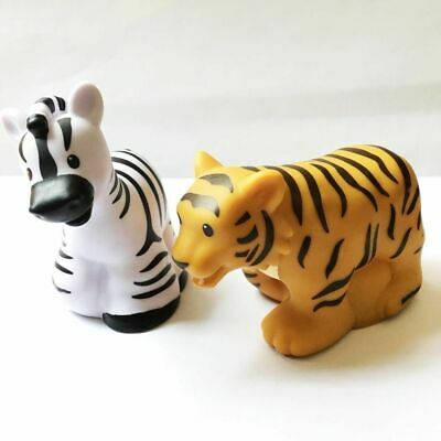 2x Little People Fisher-Price Zoo Talkers Tiger & Zebra Animal (no sound)