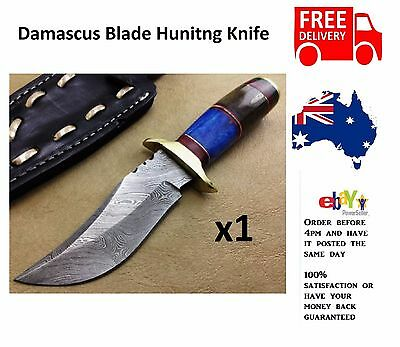 Custom Hand Made Damascus Blade Hunting Knife with leather Sheath Camping