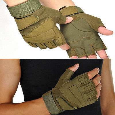 Homme Gants Tactique Mitaine Demi Doigt Airsoft Combat Cosplay Sports durable