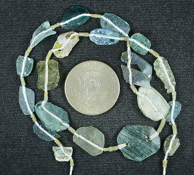 Ancient Roman Glass Beads 1 Medium Strand Aqua And Green 100 -200 Bc 607
