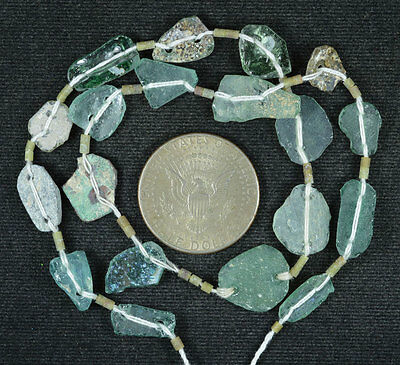 Ancient Roman Glass Beads 1 Medium Strand Aqua And Green 100 -200 Bc 608