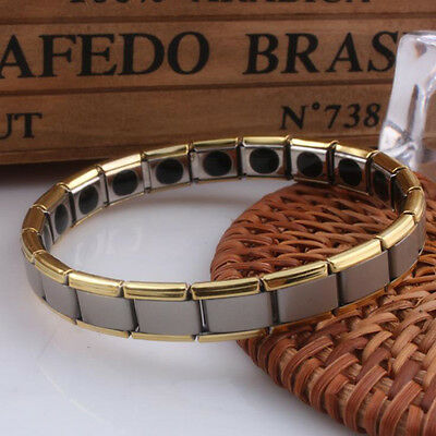 Mens Germanium Bracelet Polished Stainless Steel Magnetic Therapy Health Care