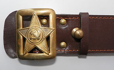 USSR Soviet Military Russian Red Army Leather Officer Belt Buckles Brown