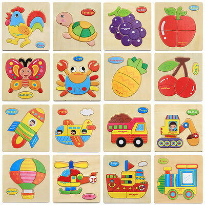 Cute Cartoon Puzzle Wooden Educational Toys Baby Kids Children Early Development