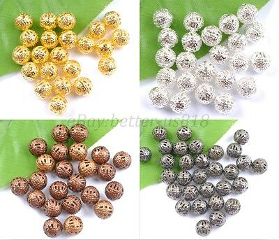 GOLD,SILVER,PLATED,BRONZE,COPPER, Metal FILIGREE Spacer BEADS 6MM 8MM 10MM 12MM