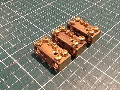 4-Gang Solid Brass Earth Terminal Block