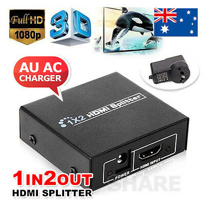Full HD HDMI Splitter 1X2 2 Port Hub Repeater Amplifier v1.4 3D 1080p 1 in 2 out