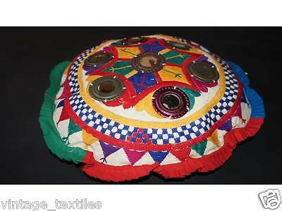 Vintage Embroidered Mirror work Round Ottomans Covers Poufs Handmade Footstools