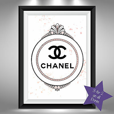 Chanel Vintage Mirror Frame Fashion A4 Art Sketch and Watercolour Picture Print