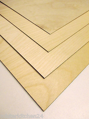 6 Pieces Fin. Aircraft plywood Beech wood 1mm 3-layer glued 50cm x 25cm