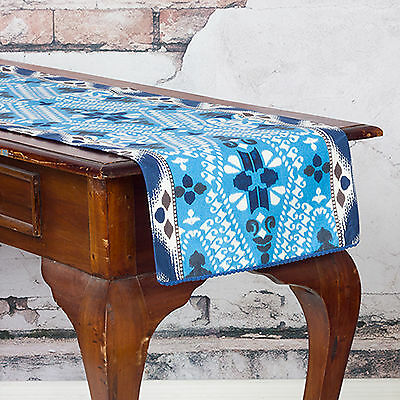 Table Runner 35 X 130Cm 'ink' Shades Of Blue And Off White