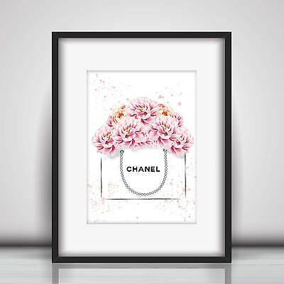 Chanel Bag & Peonies Fashion Art Sketch & Watercolour Picture Print in 5 sizes