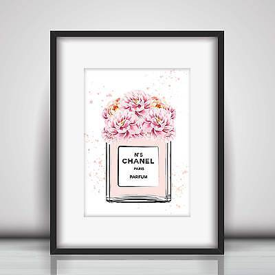 Chanel No 5 Perfume & Peonies Art Sketch & Watercolour Picture Print in 5 sizes
