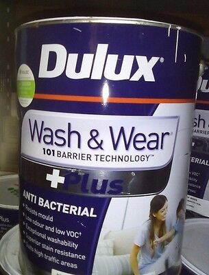 Dulux 10L Wash and Wear +Plus Anti-Bac CHINA WHITE Low Sheen Paint CAN FREIGHT