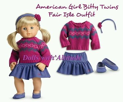 NEW American Girl Bitty Baby Twins Girl Fair isle Sweater Skirt Shoes Outfit