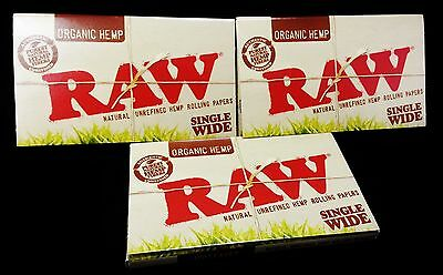 "3 Packs - RAW SINGLE WIDE ""ORGANIC HEMP"" Cigarette Rolling Papers 300 Sheets"