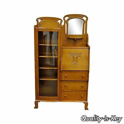Antique Victorian Golden Oak Bow Glass Side by Side Bookcase Secretary Desk