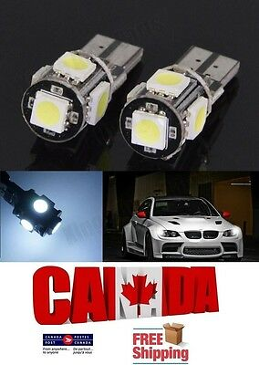 2PCS 5SMD White 6000k T10 194 168 LED No Error Canbus Map Dome Light Bulb