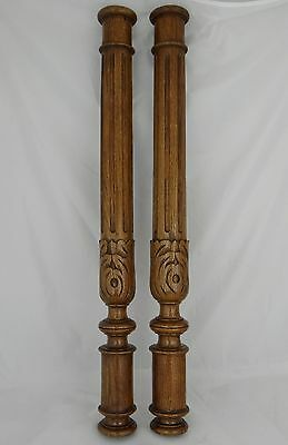 "28"" Pair of French Antique Oak Wood Baluster Posts-  Pillars or Columns"