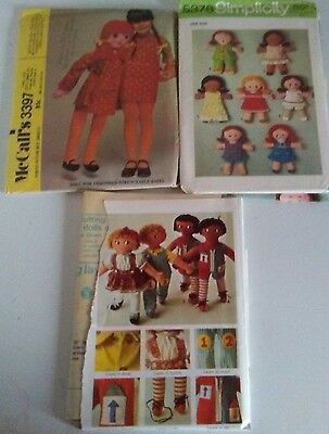 Lot of Vintage Sewing Patterns Rag Doll Girls Toy McCalls 3397 Simplicity 9137