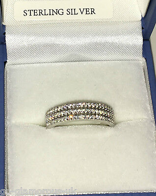 UK Made STERLING SILVER created Diamonds 3 Strand Half Eternity Ring Sizes J - S