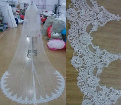 Cathedral White/Ivory lace Bridal Veil 1 layer 3M wedding Long veils with comb
