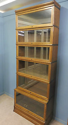 Superb Very Tall Antique Golden Oak Globe Wernicke Sectional Lawyers Bookcase