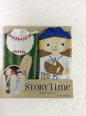 Story Time Knee Socks Toddler Non Skid Baseball Mismatched Pair New