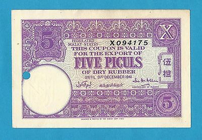 Federated Malaya States Rubber Export Coupon 5 Piculs Valid 31st Dec 1941 Unc.