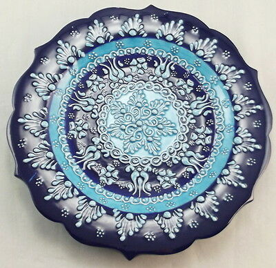 Turkish Decorative Hand Painted Ceramic Hanging Blue Plate With Large Middle Lig