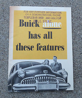 Vintage 1949 Buick Has All These Features Booklet