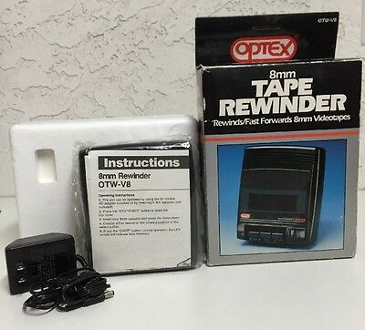 Vintage New Optex OTW-V8 8mm 2-Way Tape Rewinder / Fast Forward Complete in Box