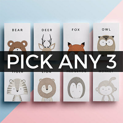*NEW ANIMALS ADDED* Cute Animals Nursery Picture/Poster/Print CHOOSE ANY 3