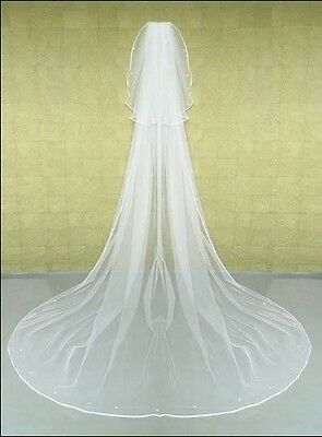 New Elegant 2T White/Ivory Cathedral Edge Bridal Wedding Beads Veil With Comb