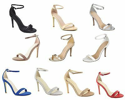 New Womens Open Toe Ankle Strap Classic Stiletto Party Dress Sandal High Heels