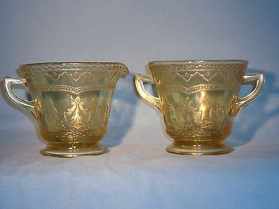 "Depression Glass, Amber ""golden Glo"" Sugar And Creamer Set Patrician Pattern"