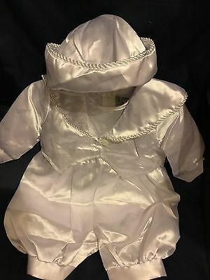 White Christening Suit Satin Baby Boys 3pc Designer Romper Hat 0-6 6-12 12-18 M