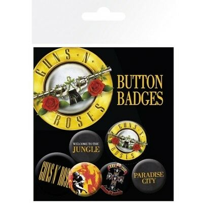 Guns N Roses Lyrics & Logo Button Badge Set Official Band Merch Metal Badges New