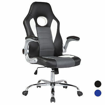 Racing Style Bucket Seat Executive Sporty Office Desk Chair High Back PU Leather