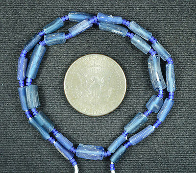 Ancient Roman Glass Fragment Beads 1 Strand Blue 100-200 Bc 0619