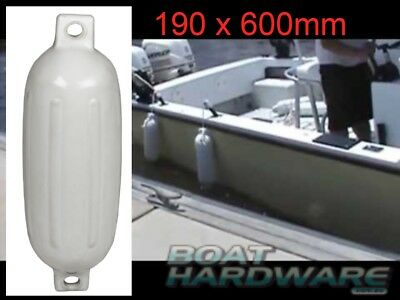Inflatable Boat Yacht Fender 190x600mm Small White Ribbed Bumper Twin 25mm Eye